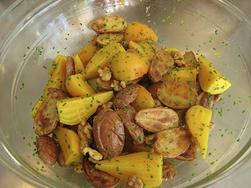 Roasted Golden Beets and Potatoes with Walnuts