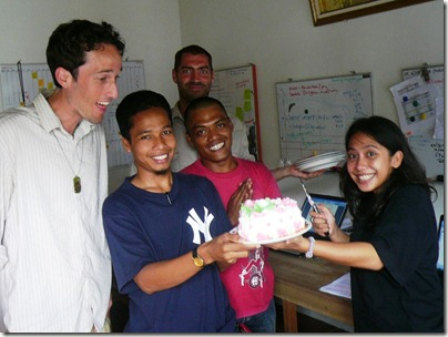 Jed, Marsono, Mark, Captain, Surprised Birthday Girl. Photo by A.Iksan, Meulaboh, 10-Sep-2007.