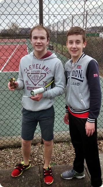 Final – Ollie Cox with trophy and George Raiswell