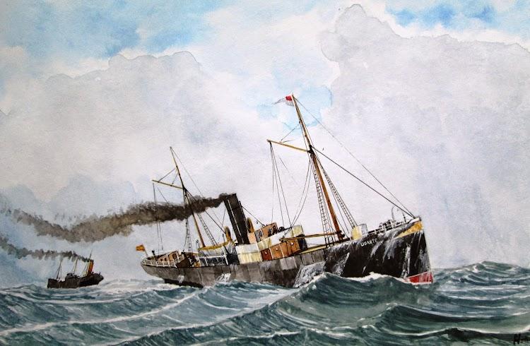 El UGARTE en navegación. Acuarela de Roberto Hernandez. Del libro Historias de la Marina Mercante Española. Vol. 1.jpg