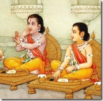 Lakshmana and Rama eating at home