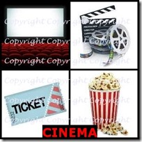 CINEMA- 4 Pics 1 Word Answers 3 Letters