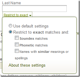 Ancestry.com advanced search form name filter