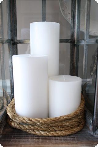 white candles rope lantern