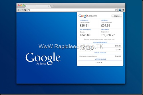 Chrome Addons Google AdSense Publisher Toolbar View your AdSense account without leaving your website. (by Google)