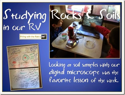 Studying Rocks & Soils in our RV - Great science lesson for roadschooling using our digital microscope to study soil samples we collected here on the farm.  RVing with the Rakis