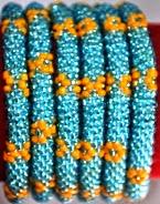 rollover bracelet blue flower orange
