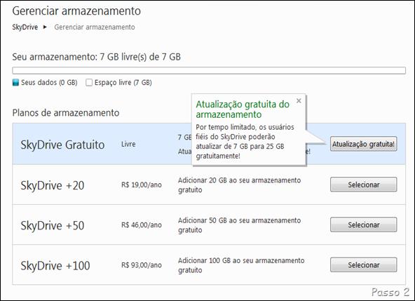 Na próxima tela, clique no botão Atualização grátis na opção Skydrive Gratuito.