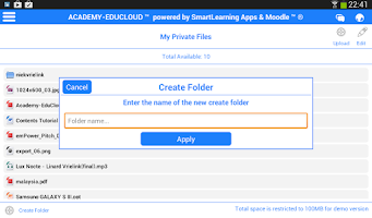 Screenshot of Moodle EduCloud 70:20:10