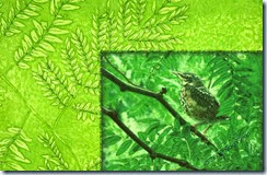 The Fledgling, detail, art quilt by Sue Reno