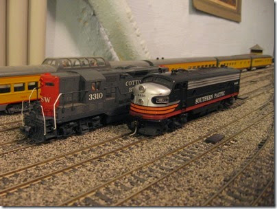 IMG_0493 Cotton Belt GP7 #3310 & Southern Pacific FP7 #6458 on My Layout on April 6, 2008