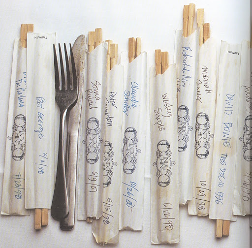 This photo from the Indochine book shows celebrity signatures on chopsticks.