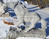 Carved Granite Running Horse Statuary in Charcoal Grey Granite