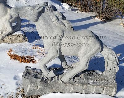 Carved Granite Running Horse Statuary in Charcoal Grey Granite