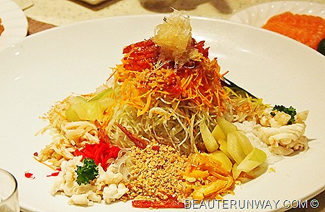 PARKROYAL Beach Road Plaza Brasserie Prosperity XO Yu Sheng Lobster, Salmon, Silver Fish, Chicken Floss, Chinese Sausages, Daikon Sprouts, Crispy Fish Skin, Enoki Mushrooms, Shredded Red White Carrot