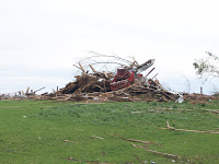 Damage in a field at 3205 Spruce Avenue in Washington County