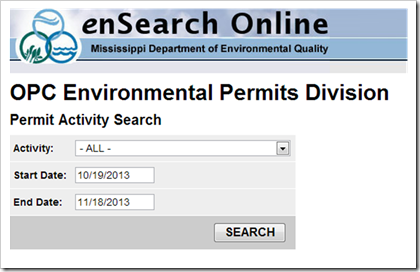 Mississippi Department of Environmental Quality ensearch online air permits