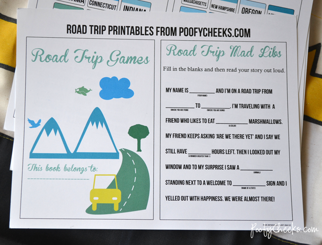 Road Trip Printable - activity sheets and games for kids