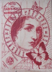 butterfly woman collage stamp