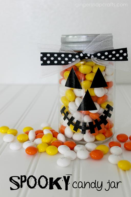 Spooky Candy Jar at GingerSnapCrafts.com #ducktape #fiskars #tutorial