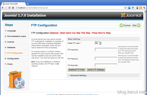 pasang Joomla! 1.7 - skrin tetapan FTP