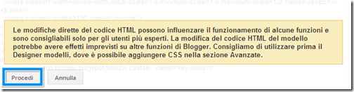 da dove applicare modifiche html blog blogger