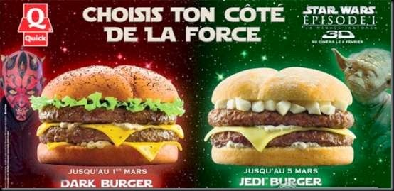quick burger star wars yoda jedi darth maul burger Star Wars Hamburger