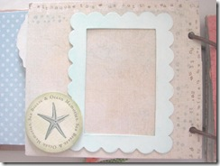 Beach journal blue and tan picture frame matboard page front