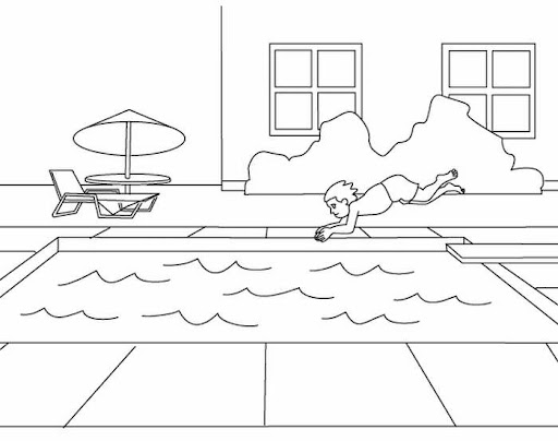 coloring pages swimming pool - photo#13