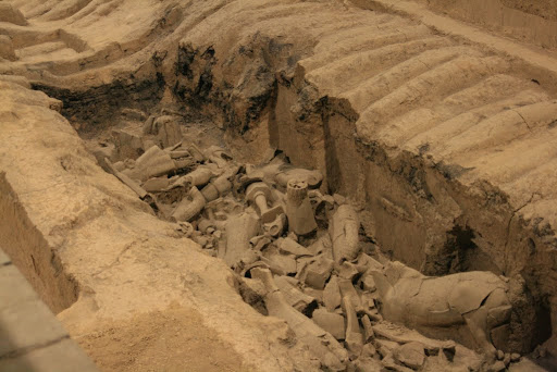 How the Terracotta army looks when first unearthed; a mess!