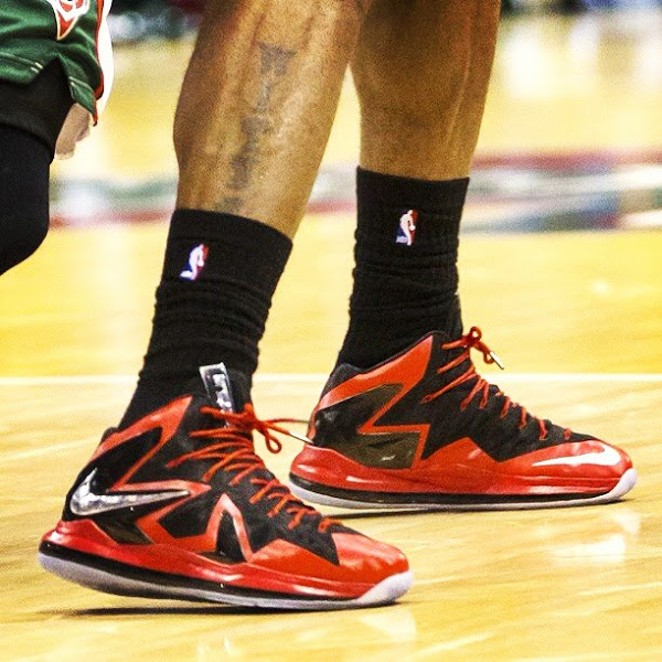 Up Close  LBJ8217s Red amp Black Nike LeBron X PS Elite PE Game 4