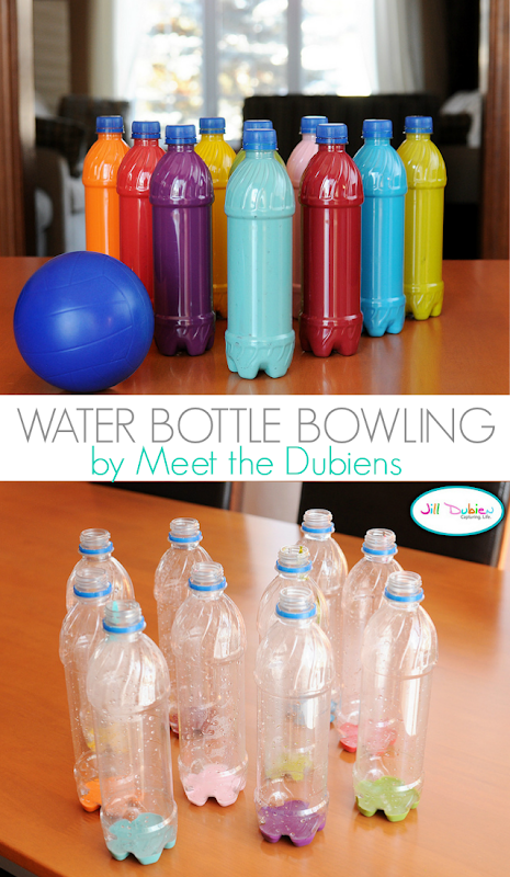 Water Bottle Bowling Tutorial by Meet The Dubiens - great way to keep the kids entertained!