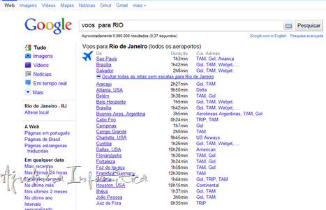 Google aprimora resultados de pesquisa sobre voos