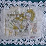 Heart, 2010, Embroidery, paper, muslin,crochet placement mat, 40cmx30cm approx