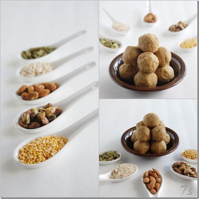 Almond oats laddu collage
