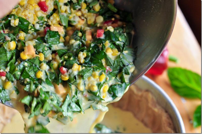 corn basil tart