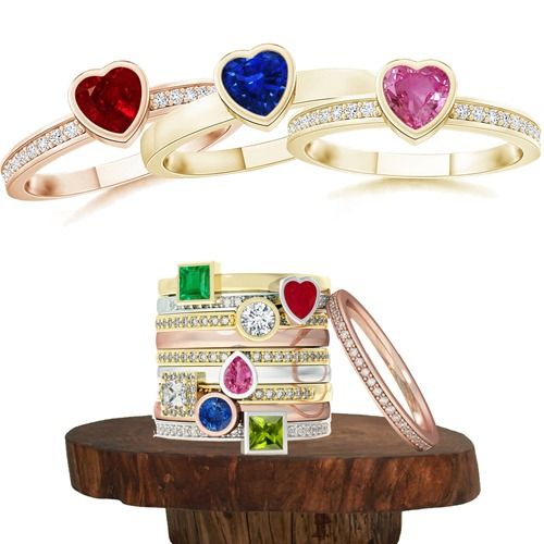 Gemstone Stackable Rings Collection