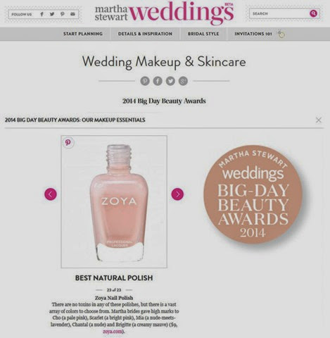 Zoya Nail Polish Best Natural Nail Polish Martha Stewart Weddings Big Day Beauty Awards