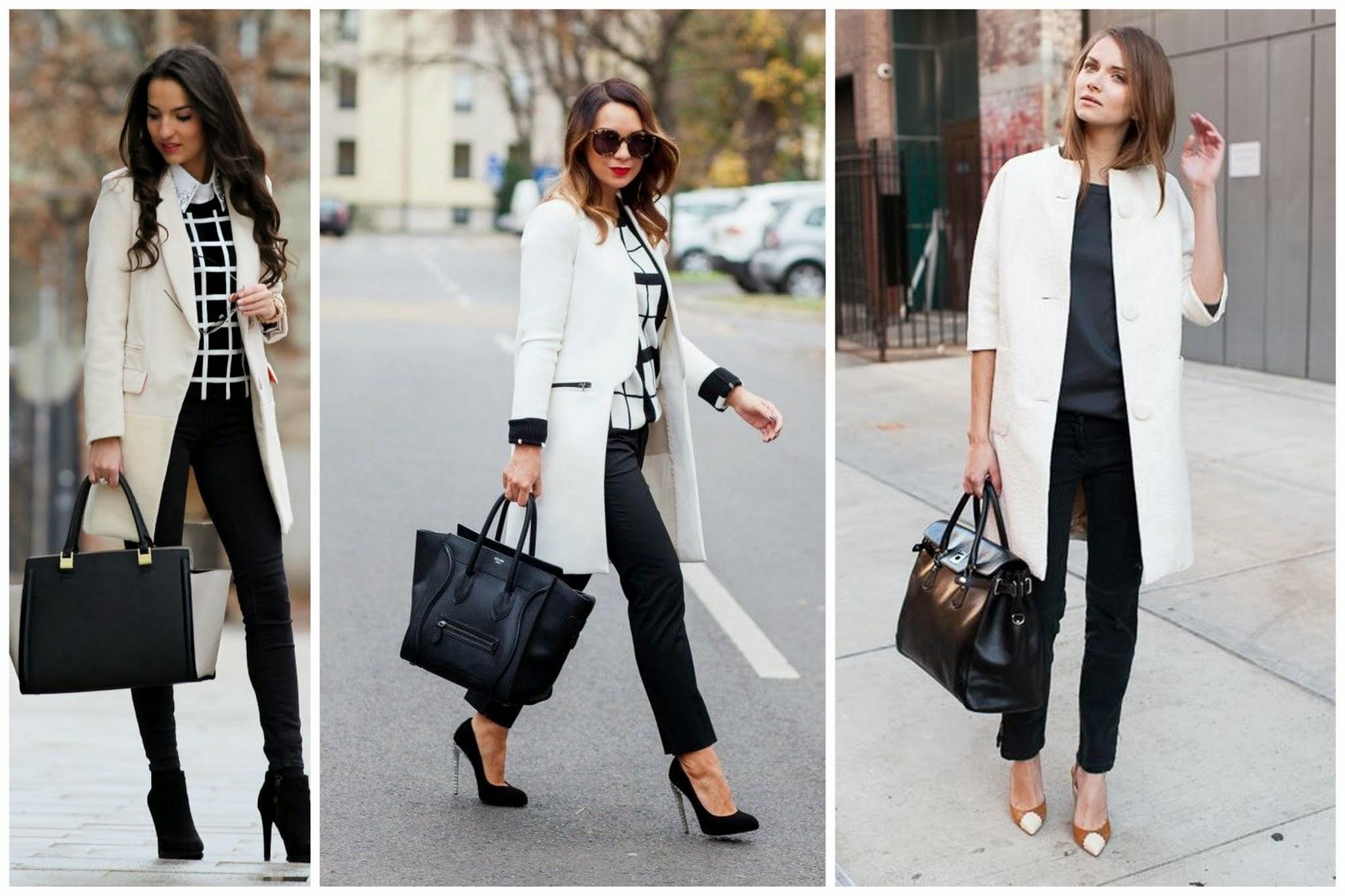 Abrigo blanco pantalon negro