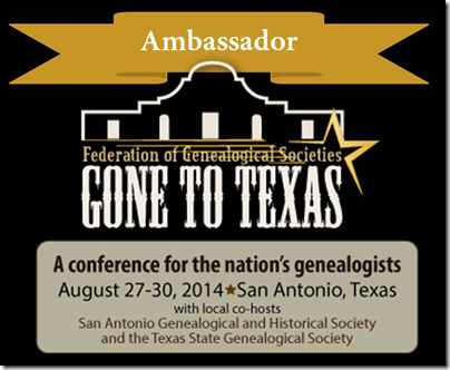 The Ancestry Insider is an ambassador for the FGS 2014 annual conference