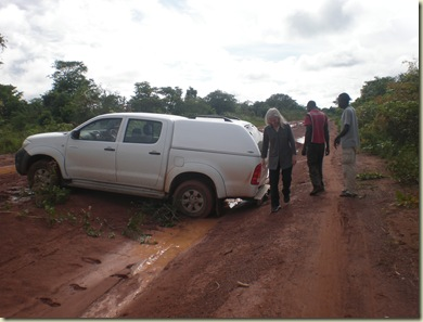 on the road to Kaputa- Slide out in the lovely red clay mud