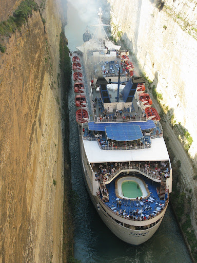 A Tight Squeeze Corinth Canal Greece Amusing Planet