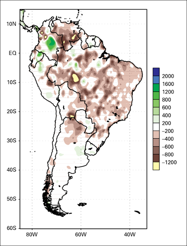 Precipitation anomalies over South America during the active monsoon season, September 2012–May 2013. Graphic: NOAA Climate Prediction Center / Instituto Nacional de Meteorologia Centro de Previsão de Tempo e Estudos Climáticos, Brazil
