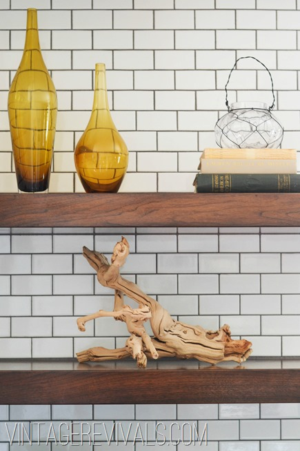 Open Shelving In Kitchen with White Subway Tile @ Vintage Revivals