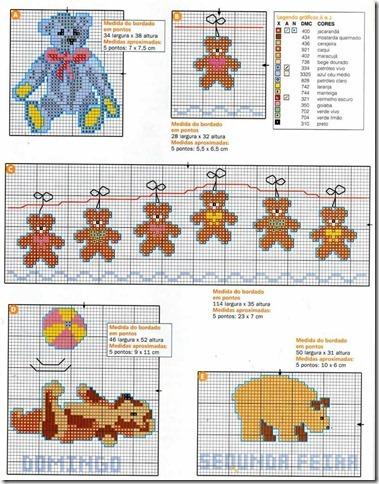 ursinhos infantis bebes ponto cruz cross stitch