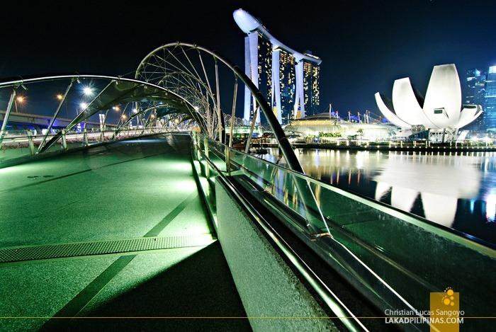 Lights Out at the Helix Bridge at Singapore's Marina Bay