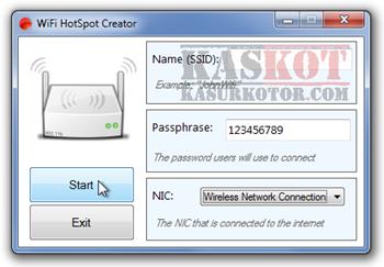 Membuat Komputer Menjadi Virtual Wi-Fi Hotspot - WiFi HotSpot Creator