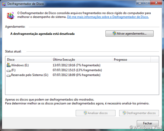 Desfragmentador de disco do Windows