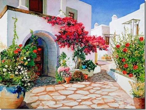 pictura acuarela-grecia