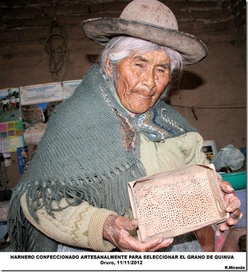 Harnero confeccionado artesanalmente para limpiar y seleccionar  Quinua-R.Miranda-laquinua.blogspot.com